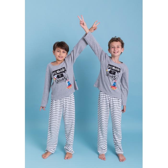 Pijama infantil menino calça e blusa manga longa Descobrindo o universo
