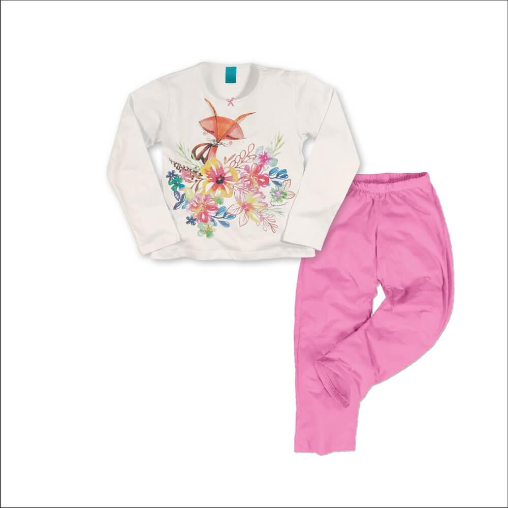 Pijama menina manga longa raposa