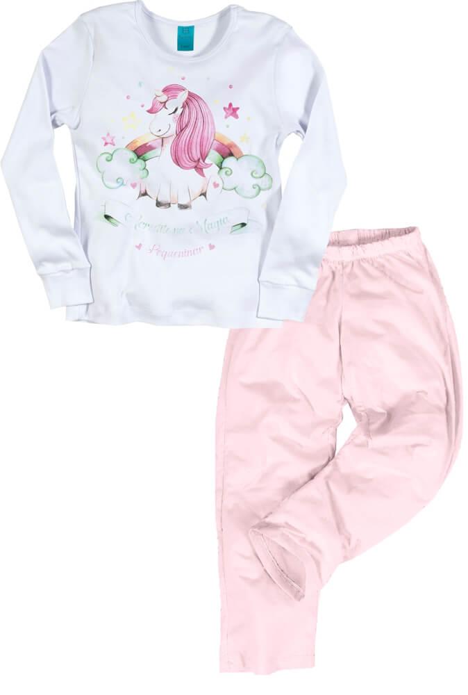Pijama menina manga longa unicórnio estrelado