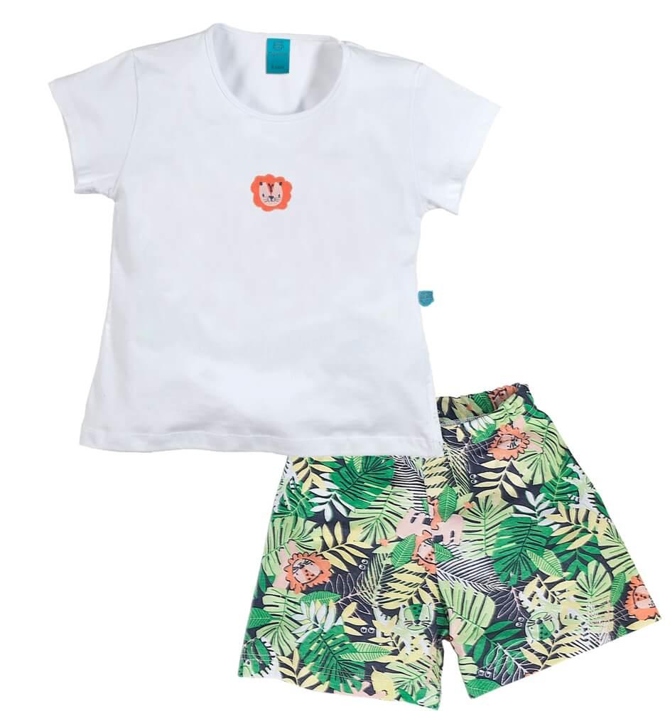 Pijama menino manga curta leão na floresta