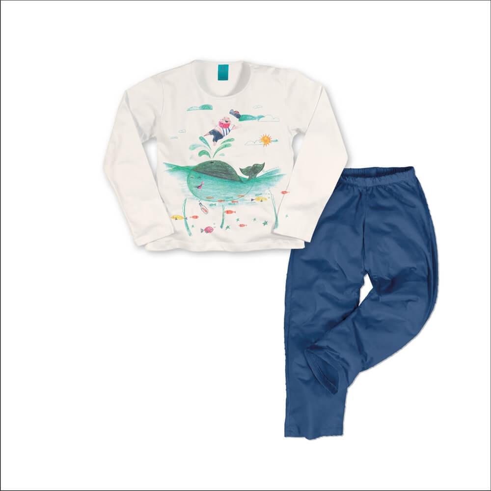 Pijama menino manga longa pirata