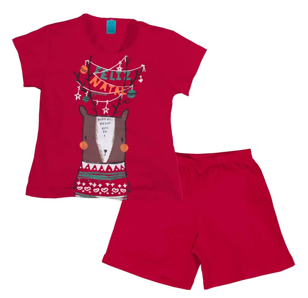 Pijama menino/menina manga curta natal rena