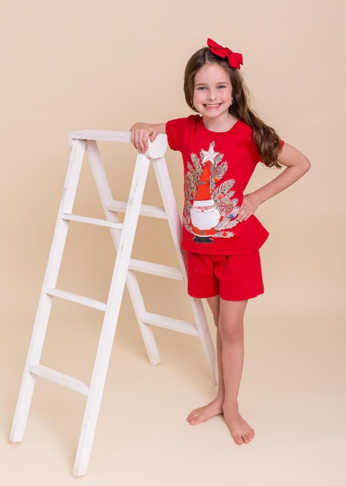 Pijama Pequeninar infantil manga curta Papai Noel e pinheiro