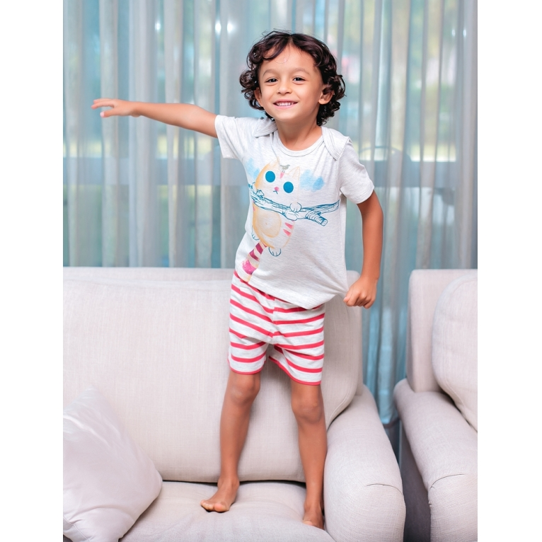Pijama primeiros passos manga curta gatinho com listras