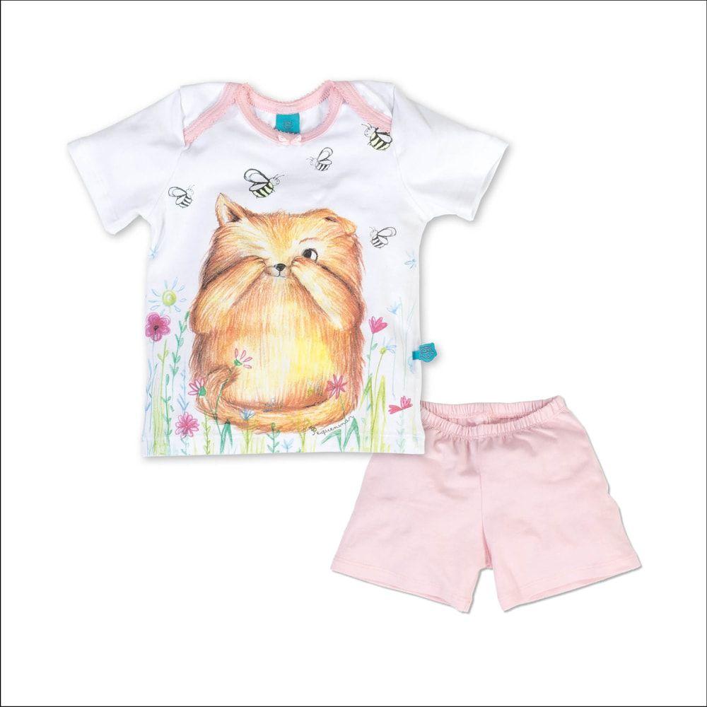 Pijama primeiros passos manga curta gato e abelhas