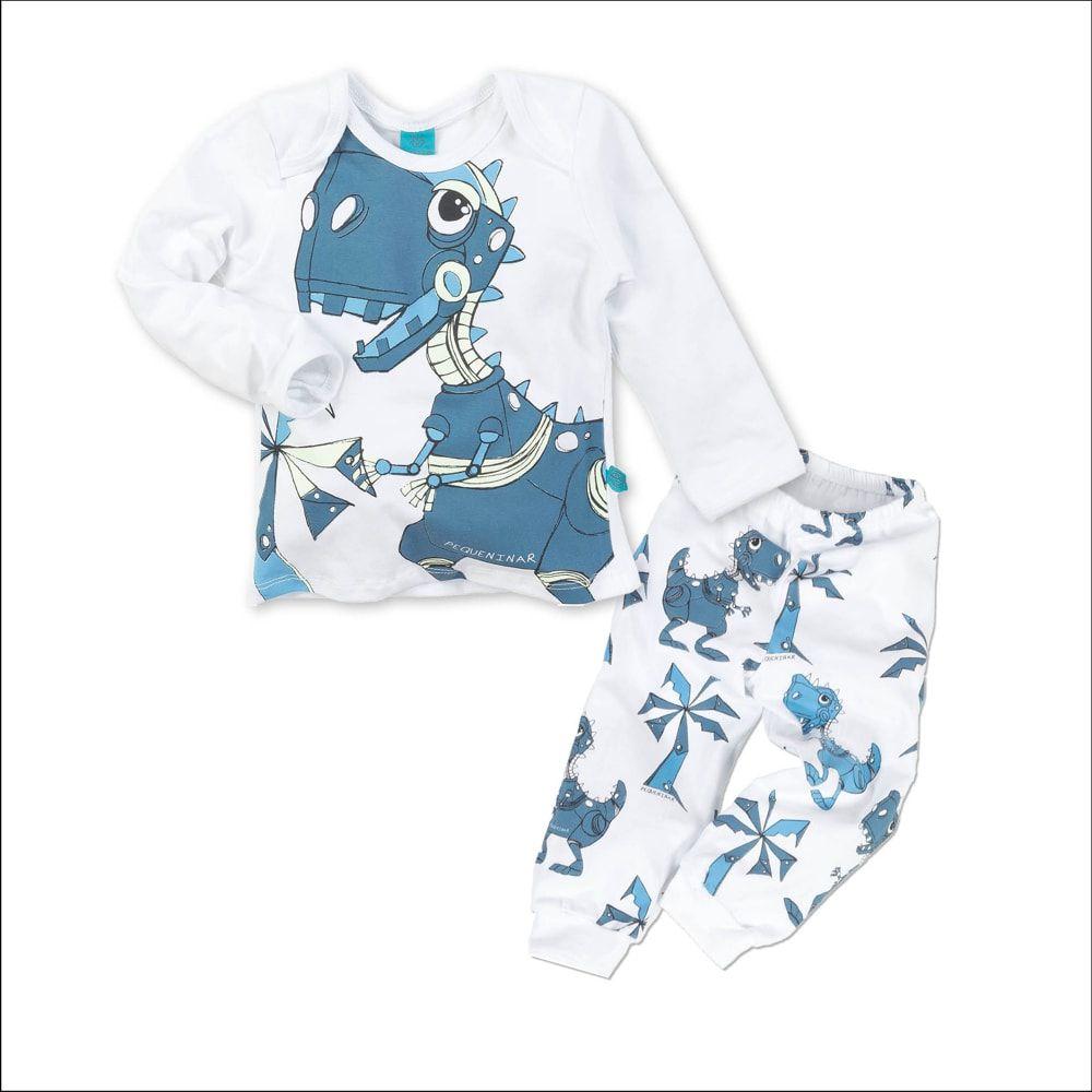 Pijama primeiros passos manga longa dinossauro