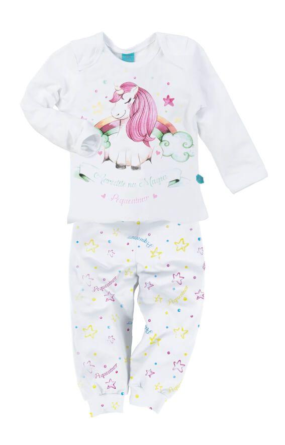 Pijama primeiros passos manga longa unicórnio estrelado