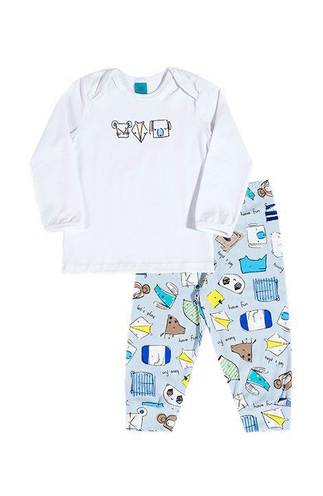 Pijama primeiros passos manga longa zoológico