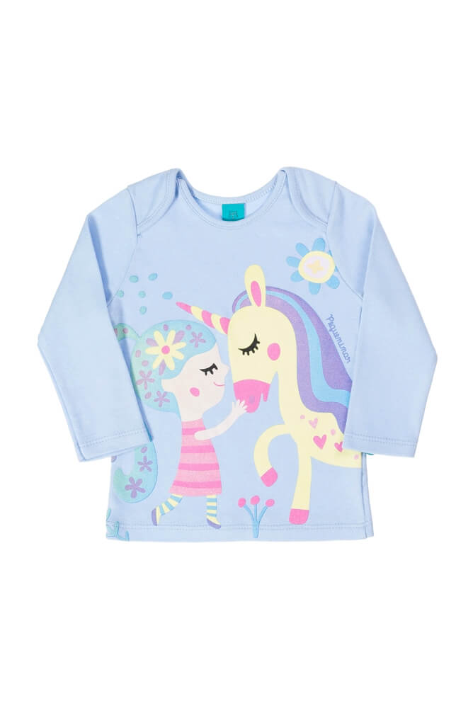 Pijama primeiros passos menina manga longa Menina e Unicórnio