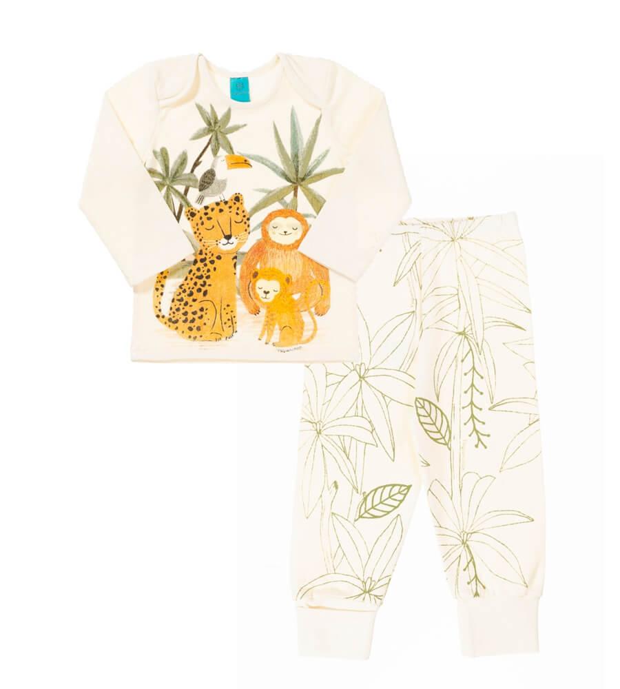 pijama primeiros passos menino calça e blusa manga longa Animais na selva