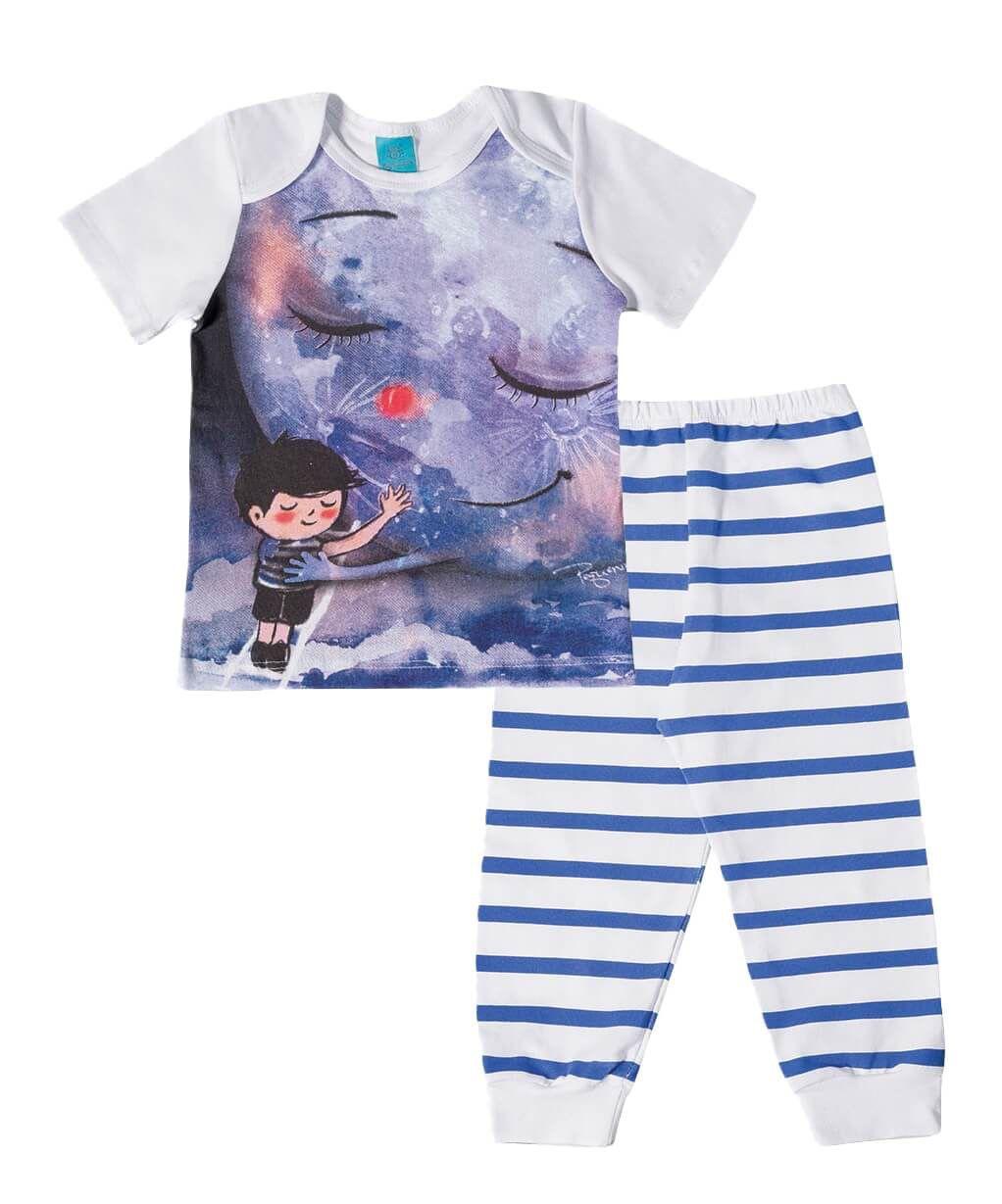 Pijama primeiros passos menino manga curta Abraço na lua