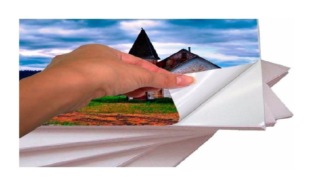 100 Folhas Papel Glossy Adesivo Fotográfico 135g A4