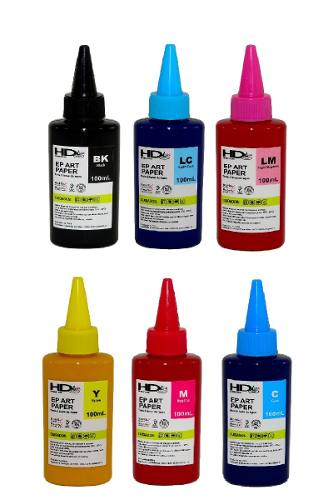 6 Unidades de 100ml Tinta Pigmentada Papel Couche E Fotográfico T50 L805 L850 L1800