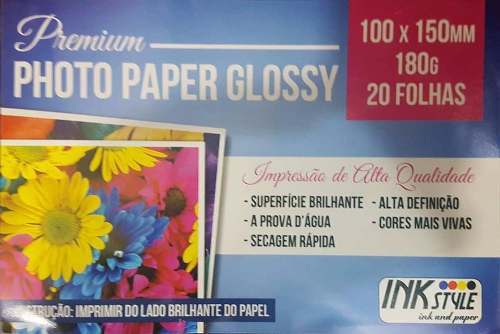 100 Folhas Papel Fotográfico Glossy 10x15 180g