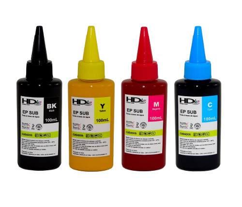 4 Unidades de 100ml Tinta Sublimatica Epson Hdink L120 L220 L355 L365 L375 L380 L395 L396