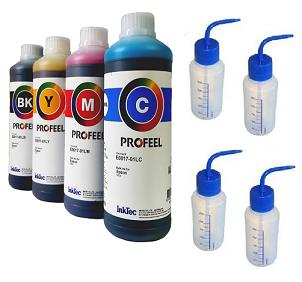 4 Litros Tinta Epson Inktec Profeel + 4 Pissetas Com Bicos Dosadores De 250ml