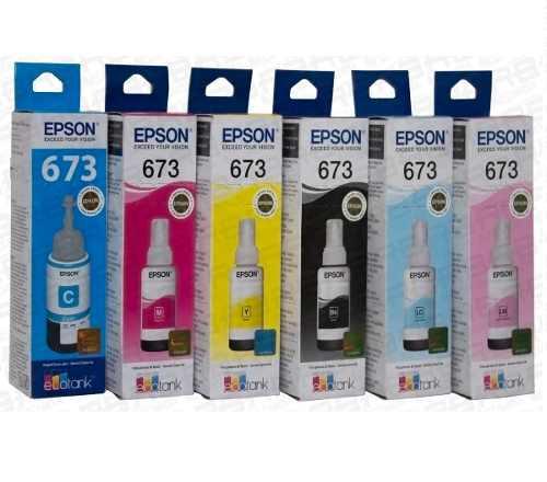 Tinta Epson Original L800 L805 L850 L1800 673 Kit 6 Cores
