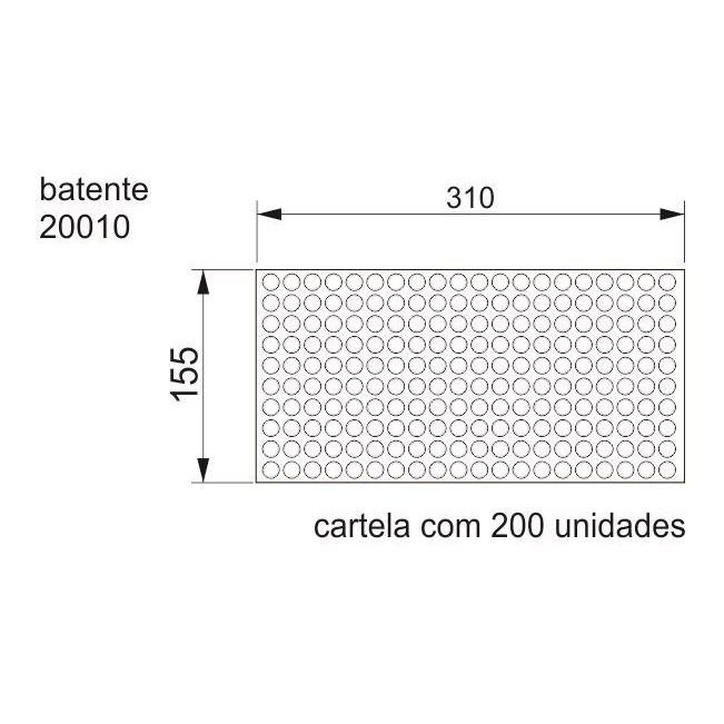 Batente Auto-Adesivo  POINT Cilíndrico Transparente 12,7mm X 1,5mm - Cartela 200 peças