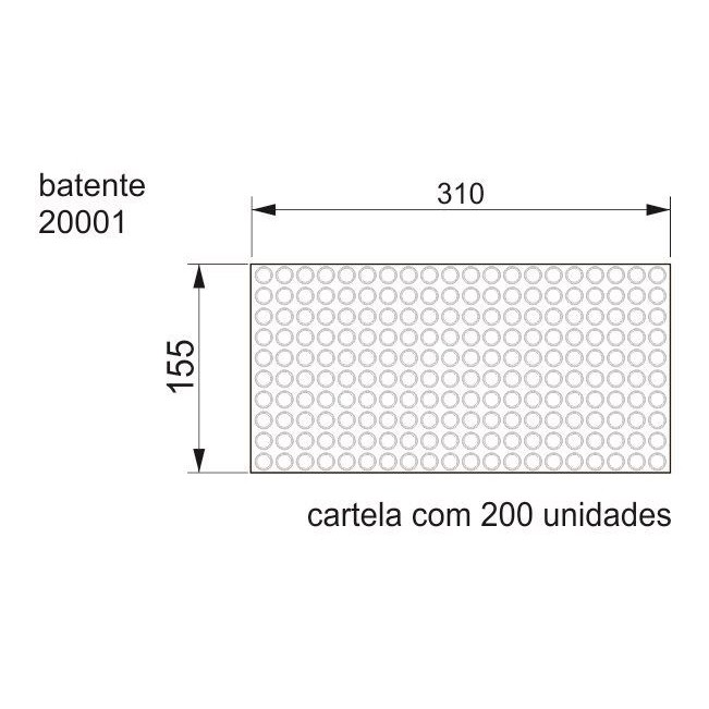 Batente Auto-Adesivo POINT PU Cilíndrico 12,7mm x 3,5mm - Cartela 200 peças