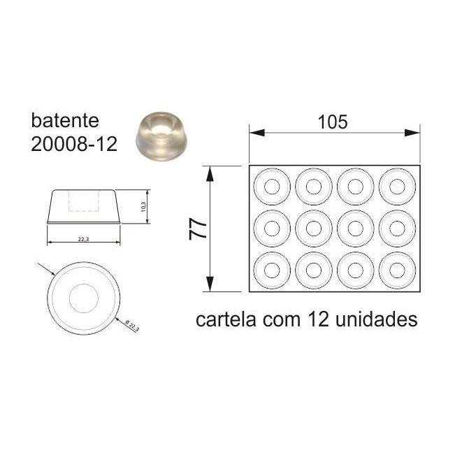 Batente Auto-Adesivo  POINT PU Cônico 22,3mm X 10,3mm - Cartela 12 peças