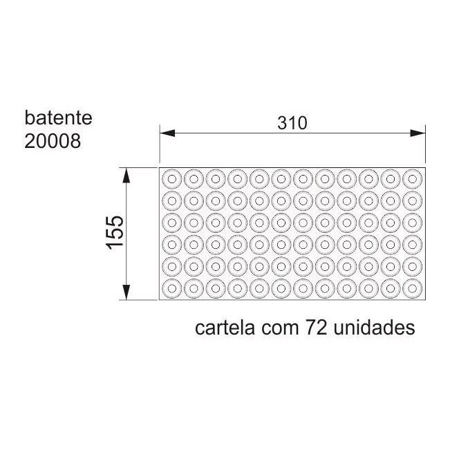 Batente Auto-Adesivo  POINT PU Cônico 22,3mm X 10,2mm - Cartela 72 peças
