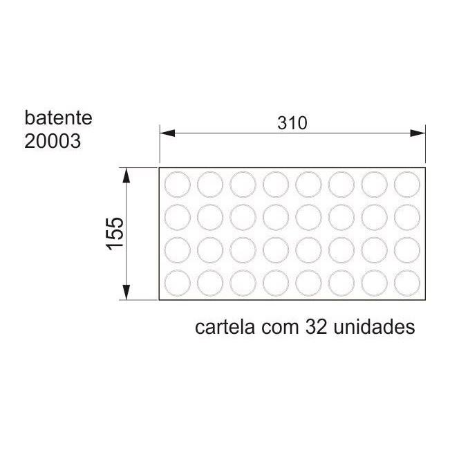 Batente Auto-Adesivo POINT PU Preto 30mm x 2,2mm - Cartela 32 peças
