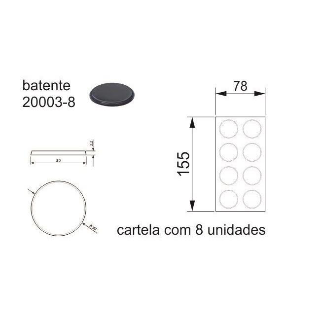 Batente Auto-Adesivo POINT PU Preto 30mm x 2,2mm - Cartela 8 peças