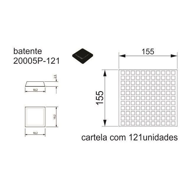 Batente Auto-Adesivo  POINT PU Quadrado Preto 10,2mm x 2,5mm - Cartela 121 peças