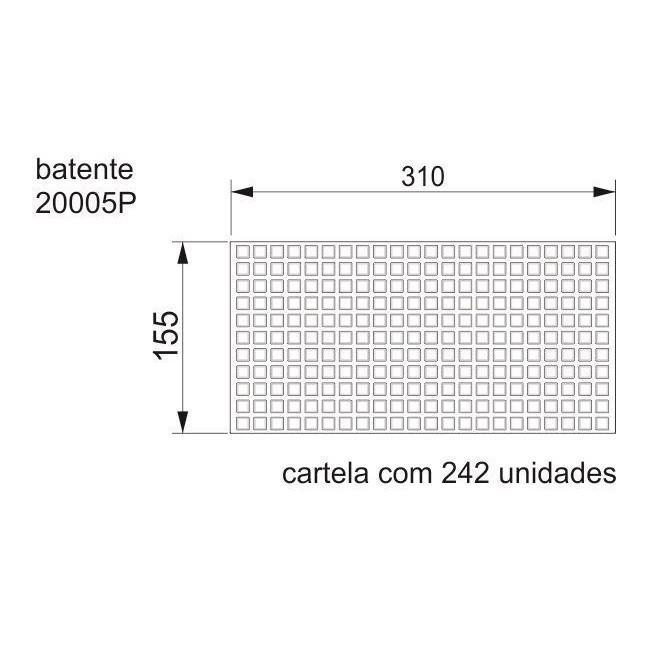 Batente Auto-Adesivo  POINT PU Quadrado Preto 10,2mm x 2,5mm - Cartela 242 peças