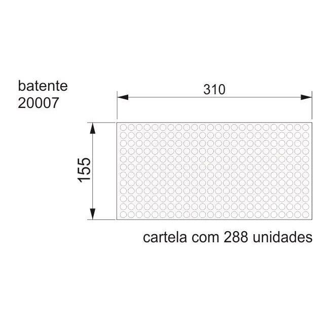 Batente Auto-Adesivo POINT PU Transparente 10mm X 3mm - Cartela 288 peças