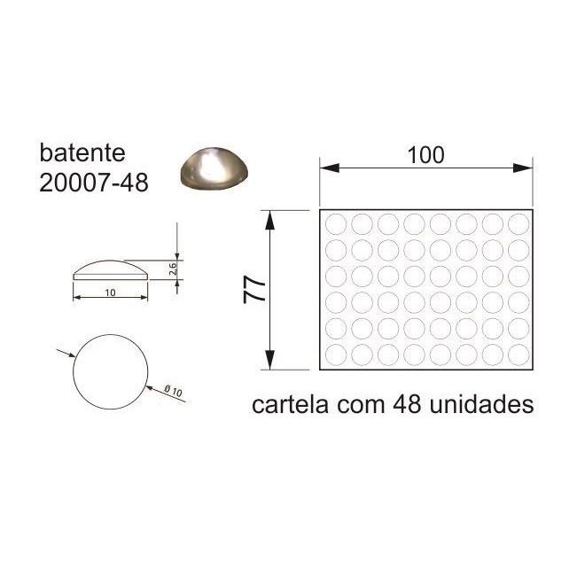 Batente Auto-Adesivo POINT PU Transparente 10mm X 2,6mm - Cartela 48 peças