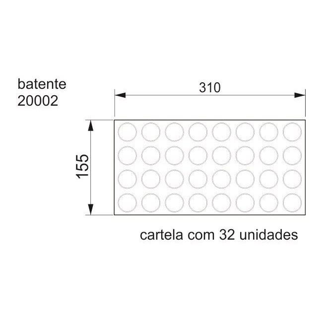 Batente Auto-Adesivo POINT PU Transparente 30mm x 2,2mm - Cartela 32 peças