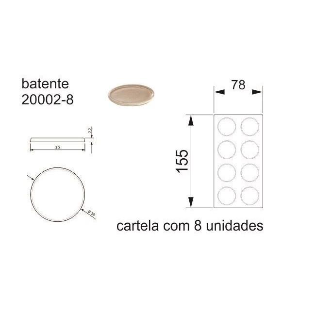 Batente Auto-Adesivo POINT PU Transparente 30mm x 2,2mm - Cartela 8 peças
