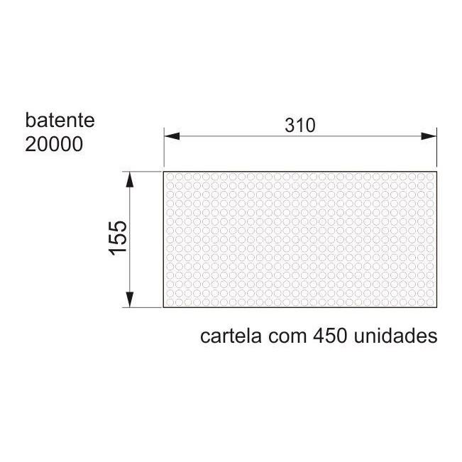Batente Auto-Adesivo POINT PU Transparente 7,9mm x 2,2mm - Cartela 450 peças