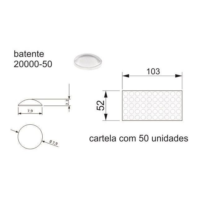 Batente Auto-Adesivo POINT PU Transparente 7,9mm x 2,2mm - Cartela 50 peças