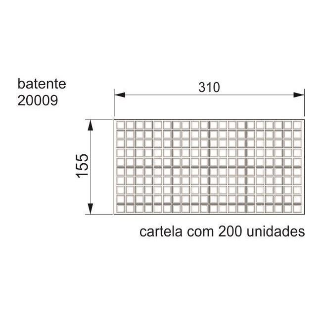 Batente Auto-Adesivo  POINT Quadrado 12,7mm X 3mm - Cartela 200 peças