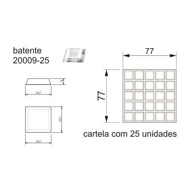 Batente Auto-Adesivo  POINT Quadrado 12,7mm X 3mm - Cartela 25 peças