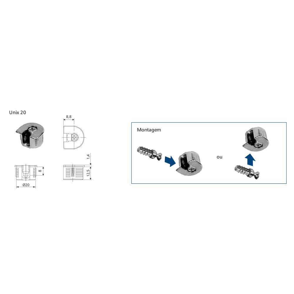 Conector para móveis Point Unix20 (Cento) - Pacote com 100 unidades