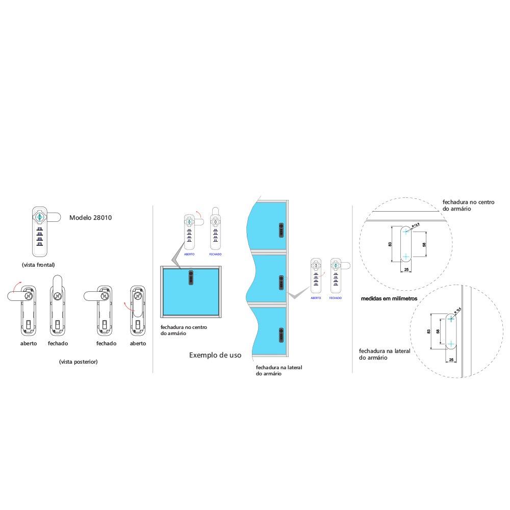 Fechadura Mecânica POINT Segredo 25mm Superior Direta
