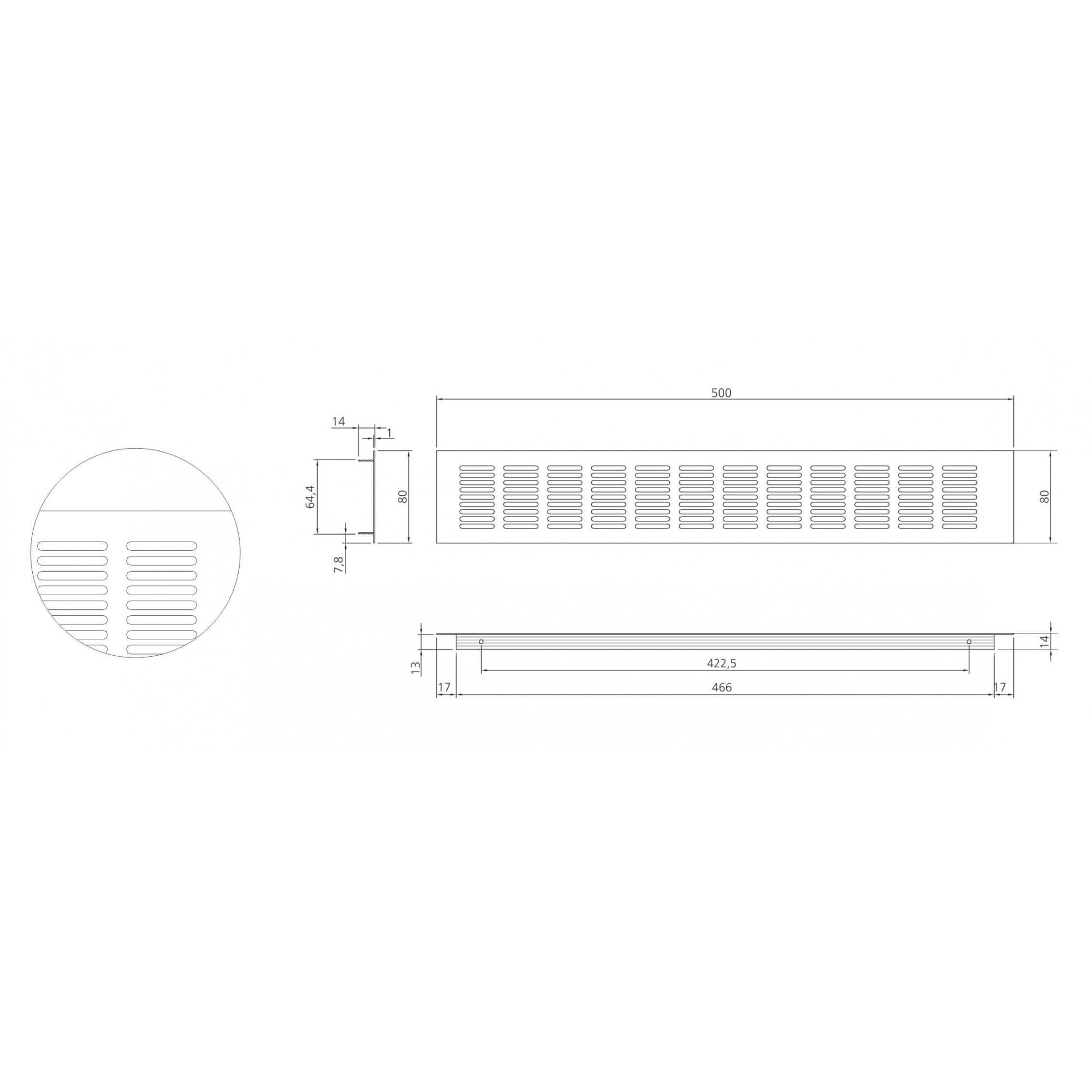 Grade de Ventilação POINT Alumínio 80mm X 500mm