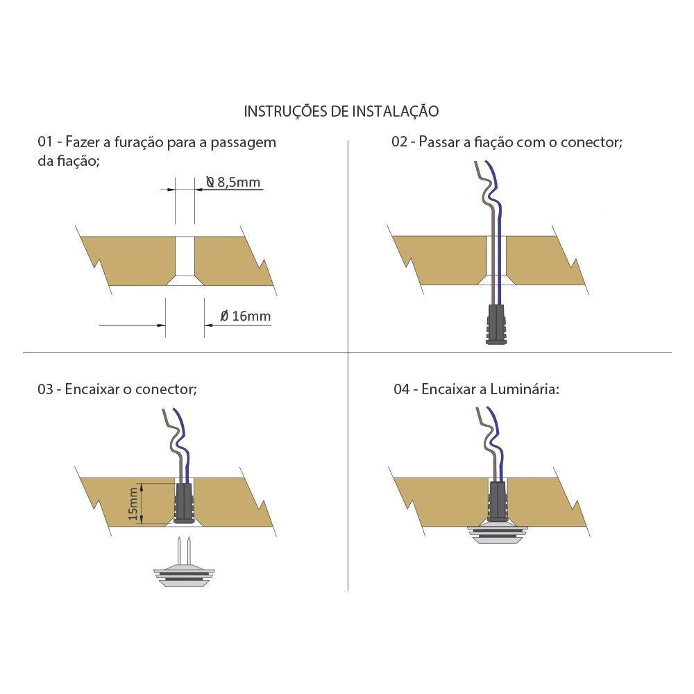 Luminária de Embutir Led-point 12v 1,4W Branco Quente
