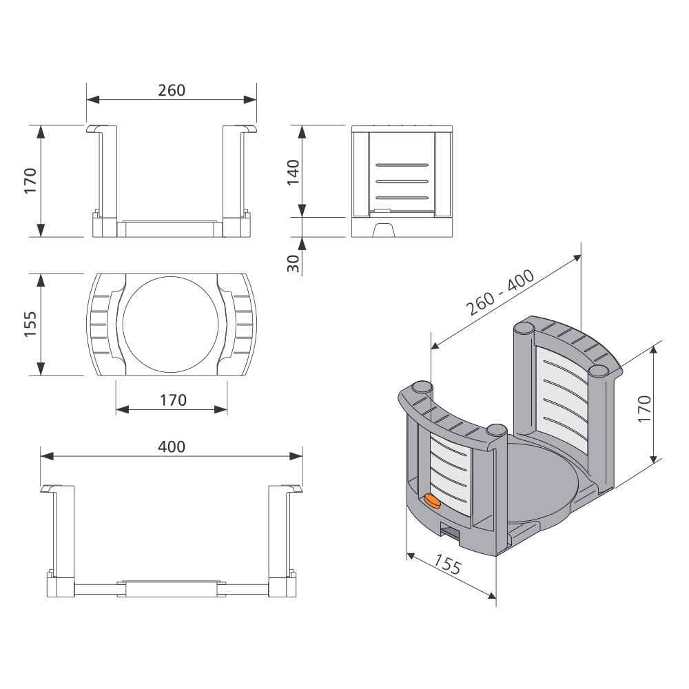 Organizador de Pratos Point Pratos com Diâmetros de 180 a 310mm