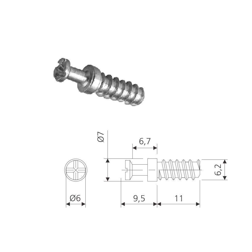 Pino Auto atarraxante POINT 11mm (cento) - Pacote com 100 unidades