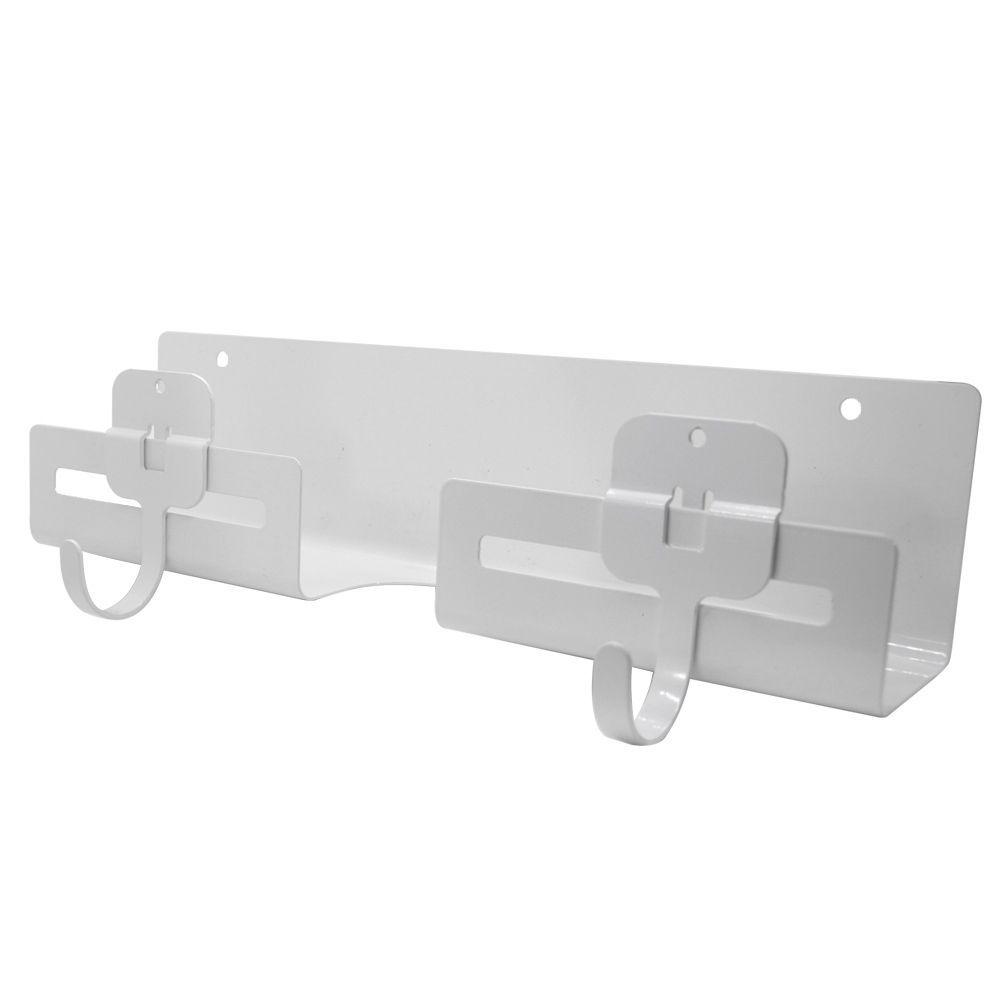 Porta Vassoura Point com 2 Ganchos Conjunto Branco