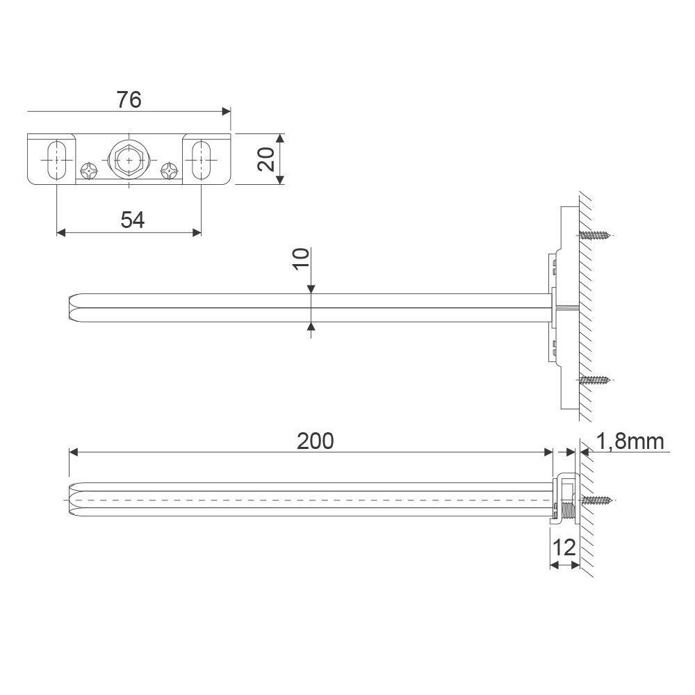 Suporte Invisível Point Prateleira 1,8 cm e Haste 200 mm