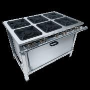 Fogão Dual Chef Aço Inox 6 Bocas 30x30 Com Super Forno - Metalmaq