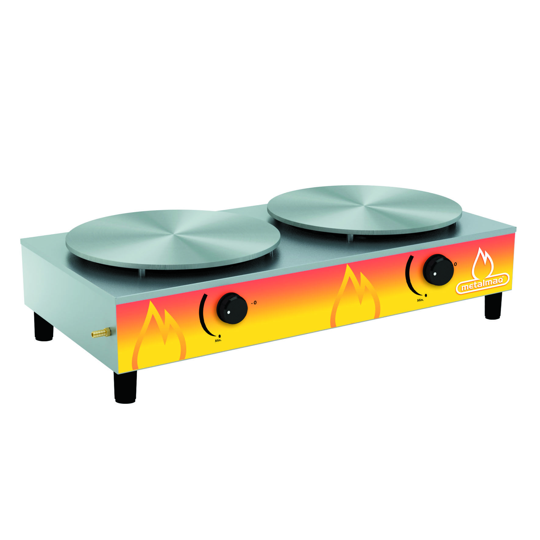 Crepeira a Gás em Aço Inox 2 Discos - Metalmaq