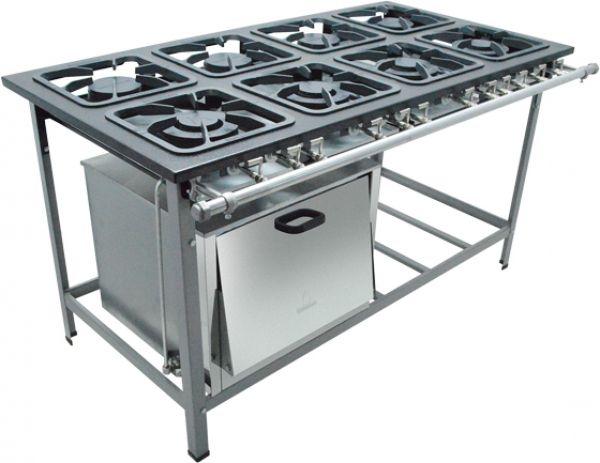 Fogão Industrial 8 Bocas 30x30 Com Forno S2000 - Metalmaq