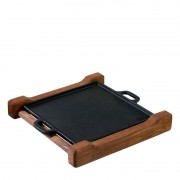 Bifeteira quadrada 24 com base de madeira