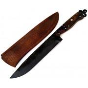 Faca artesanal negra forjada de antiga grosa de casquear full tang 9 polegadas